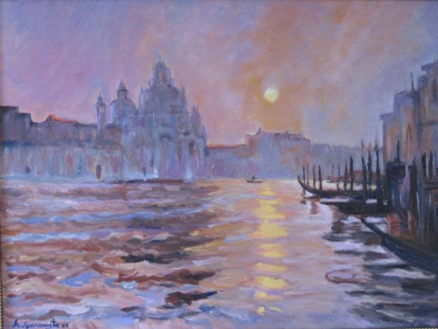 atardecer en venecia oil on canvas 18''x24''